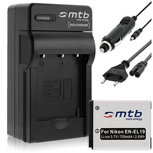 Batteria + Caricabatteria (Auto/Corrente) per Nikon EN-EL19 / Coolpix S2750 S4300 S6400 S6600... - vedi list