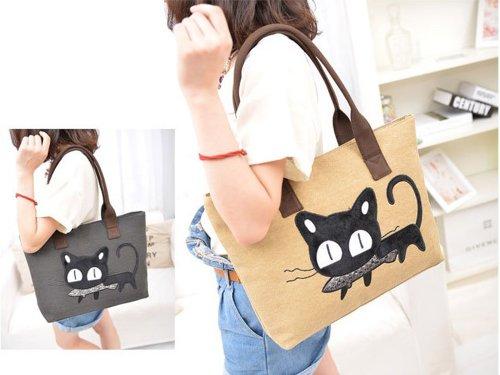 Cool2day - Damen Tasche Modisch mit Katzenaufdruck Freizeit Leinen Schulter Handtasche (Modell:B010603) Rosa