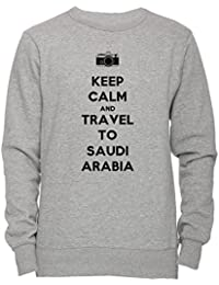 Keep Calm And Travel To Saudi Arabia Unisexo Hombre Mujer Sudadera Jersey Pullover Gris Todos Los Tamaños Unisex Men's Women's Jumper Sweatshirt Grey All Sizes