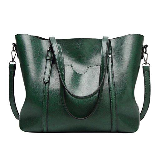 UFACE Reine Farbe große Kapazität Handtasche Schultertasche Messenger Bag Tote Bag Beuteltasche Frauen Umhängetasche (Grün)