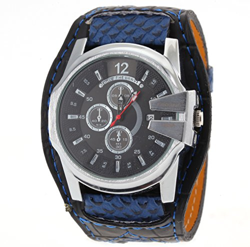 FENKOO Herren Armbanduhr Quartz Kalender PU Band Weiß/Blau/Rot/Orange Marke- JUBAOLI
