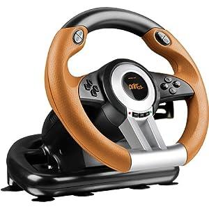 Speedlink Gaming Lenkrad für PS3 – DRIFT O.Z. Racing Wheel USB (Schaltknauf, Gas- und Bremse-Pedale – Vibration, 180° Lenkbereich  – Controller für Driving Games oder andere Simulator-Spiele) schwarz/orange