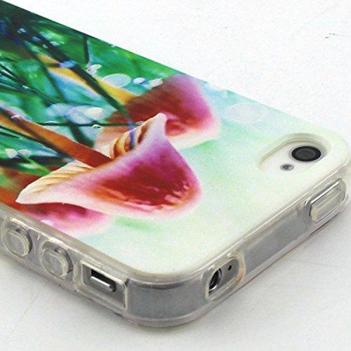 Voguecase® Per Apple iPhone 5 5G 5S, Custodia Silicone Morbido Flessibile TPU Custodia Case Cover Protettivo Skin Caso (Gatto / ECG) Con Stilo Penna funghi