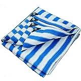TFT Planen-Schatten-Netz-Verdickungs-Verschlüsselung für LKW-Gewächshaus-Carport-Dach-Hof-Schatten-Familien-Balkon-Garten-Schatten-Isolierungs-Plane (Farbe : Blue and White Stripes, größe : 3x3m)