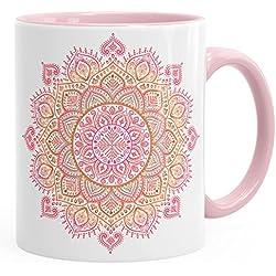 Taza de café Mandala de cerámica con color interior rosa