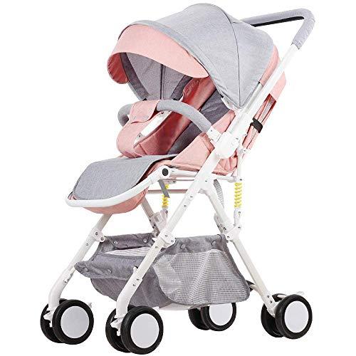 Eeayyygch Baby-Kinderwagen kann stützendes Licht sitzen und hohe Landschaft Falten Baby-Kinderwagen-Regenschirm, grün (Farbe : Gray-pink, Größe : -)