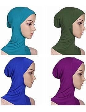 Ksweet 4 X Pañuelo Sombrero Mujeres Musulmanas Hijab Deportes y aire libre Bufanda de Cuello Pañuelos de Cuello...