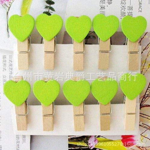 Grün Peg (VI. Yo Mini Sweet Love Herz Form Holz Klammern Holz Wäscheklammern Foto Papier Peg, Holz, grün, 3.5cm*2cm)