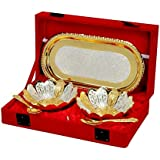 DESIGNOX Brass Silver Plated Bowls with Spoon and Tray - Set of 2