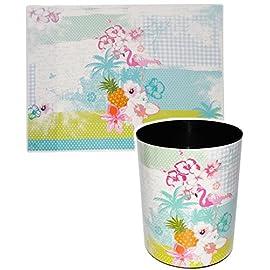 alles-meinede-GmbH-2-TLG-Set--Schreibtischunterlage-Papierkorb-Flamingo-Hibiskus-Blume-Hawaii-Schreibtischset-aus-Kunststoff-Mlleimer-Eimer-Tischunterla