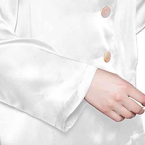 LILYSILK Ensemble de Pyjama en Soie Femme à Manches Longues Vêtements de Nuit 2 Pièces 22 Momme Blanc