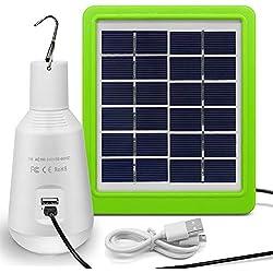 LED à Energie Solaire, Jirvyuk Lampe LED Solaire Portable. Ampoule Solaire 560LM, Lampe Solaire avec Panneau Solaire pour Eclairage, Extérieur, Randonnée,Camping, Pêche,