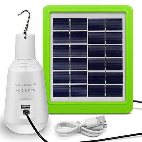 Jirvyuk Lampadina Solare Portatile con Pannello Solare Lampade Solari Portatili e Ricaricabili per Campeggio Esterno o Tenda Trekking (14 LEDs)