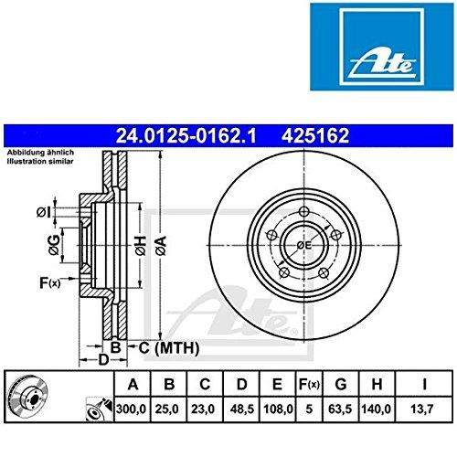 Preisvergleich Produktbild ATE 24.0125-0162.1 Bremsscheibe