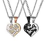 JewelryWe 4 Freundschaftsketten, Edelstahl Love Eternal Geschlecht Symbol Herz Partner Anhänger Ketten, Paare Halsketten für Herren Damen, Schwarz Rosegold Silber