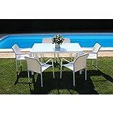 Set Tavolo Giardino Rettangolare Fisso Con Piano In Vetro 150 X 90 Con 6 Poltrone Intreccio Sintetico Bianco Da Esterno