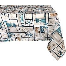 Textiles el Cid Tagomago Mantel Resinado Antimanchas, Algodón-Poliéster, Gris y Azul, 35x35x1.50 cm