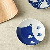 [5 piatti set]Yamani Ceramica Mino Yaki a Mano Chidori Bird & Mt.Fuji Modello piattino per salsa di soia,Alimentari,Dessert,etc. Blu dal Giappone