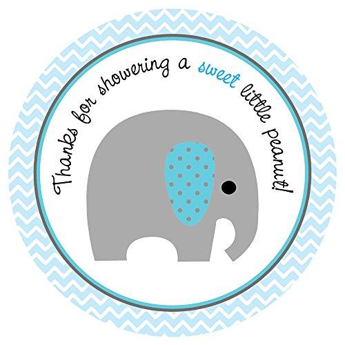 Adorebynat Party Decorations - EU Elefante del bebé pegatinas Chevron - Baby Shower Gracias pegatina del favor del partido - Set 30