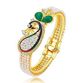 Sukkhi Ethnic Pearl Gold Plated Wedding Jewellery Peacock Meenakari Kada For Women (12120KADS650)
