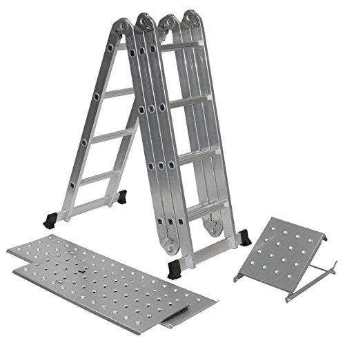 Escalera multiusos plegable de Charles Bentley, de 4,7 m, hecha de aluminio, combinación de escalera de peldaños con andamio y dos plataformas libres