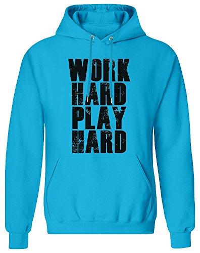 Work Hard Play Hard Hoodie Sweatshirt für Männer - 80% Baumwolle, 20% Polyester - Kundenspezifische Bedruckte Kleidung für Männer Small (Work Play Hard Hard Hoodie)