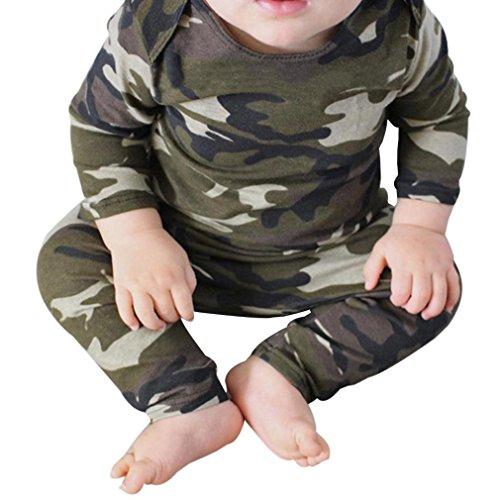 Bekleidung Longra Babykleidung für Jungen Camouflage Langarm T-Shirt Oberseiten + Hosen Ausstattungs Kleidung 2PCS Baby Anzüge(0-24Monate) (70CM 6Monate, Camouflage) -