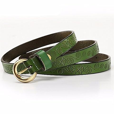 LONFENNE Les femmes taille avec ceinture décorative en cuir, vert,80-95cm