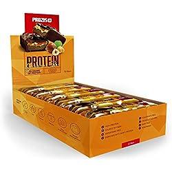 Prozis Protein Deluxe Bar 12 x 80 g – Delicioso aperitivo con sabor a chocolate y avellanas para disfrutar sin remordimientos: 20 g de proteínas, fuente de fibra y bajo en carbohidratos.