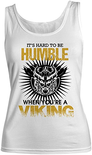 It's Hard To Be Humble When You're A Viking Donna Tank Top Canotta Bianca Small
