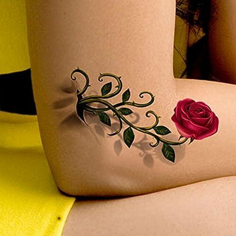 TAFLY 5 Blätter Körper Kunst Transfer Wasserdicht Temporäre Tattoo Körper Aufkleber Sexy Rose Blume