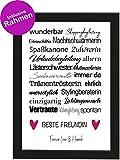 PICSonPAPER Personalisiertes Geschenk Freundin, Poster DIN A4 wunderbar, Shoppingbegleitung, gerahmt mit schwarzem Bilderrahmen, Geburtstagsgeschenk, Freundschaft, Personalisierbare Poster Freundin