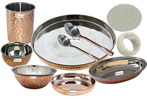 Prisha India Craft ® Migliori posateria in acciaio Thali rame Set 13 Dia