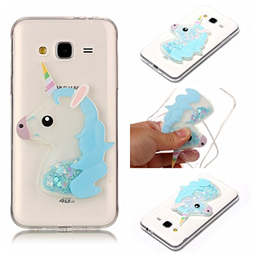 Coque Samsung J3 , Glitter Liquide TPU Etui Coque pour Galaxy J3 ,CaseLover Rose Licorne Motif Mode Etui Coque Dynamic Etoiles Paillettes Sable TPU Slim pour Samsung Galaxy J3 (2016) (5.0 pouces) Mode Flexible Souple Soft Case Couverture Housse Protection Anti Rayures Mince Transparent Silicone Strass Mouvant Cover - Rose