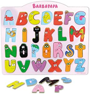 Vilac - 5872 - Jeu Éducatif - Encastrement Alphabet Bilingue - Barbapapa