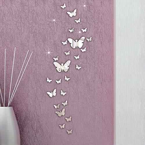 QLOSCFHB 30 Teile/los 3D DIY Acryl Spiegel Wandaufkleber Schmetterling Kombination 3D Aufkleber Aufkleber Mosaik Spiegeleffekt Wohnzimmer Wohnkultur