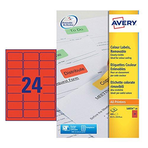 Avery L6034-20 - Etiqueta autoadhesiva (Rojo, 6,35 cm, 3,39 cm, Papel)