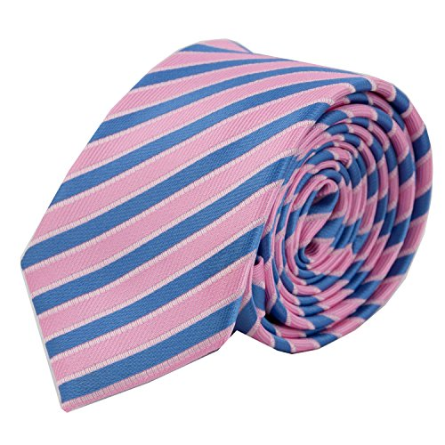 MASSI MORINO Herren Slim-Fit Krawatte, handgenäht aus Mikrofaser in verschiedenen Farben - schmale Mikrofaser-Krawatte, Skinny & Silk Ties (6cm) (Blau/Rosa gestreift) (Blaue Skinny Tie)