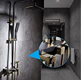 GY&H Shower Systems Wall-mounted bathroom Retro black Rain Mixer Shower Combo Set with Handheld Showerheads,Adjustable Rainfall Shower head