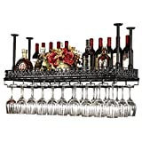 JXXDQ Retro Wand Weinregale Metall Eisenablage Regal In Bar LOFT Decke Wand montiert Wein Champagner Glas Becher Stemware Rack Weinflaschenhalter (Farbe : SCHWARZ, größe : 80×35cm)