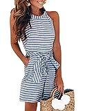 FeelinGirl Combinaison Femme Combishorts Longue Court Pantalon Rompers Taille Haute sans Manche Jumpsuit de Soirée Taille Serrée S-XL