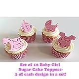 12 Handgemachte Kuchendekorationen aus Zucker: Baby Mädchen / Baby Girl Set