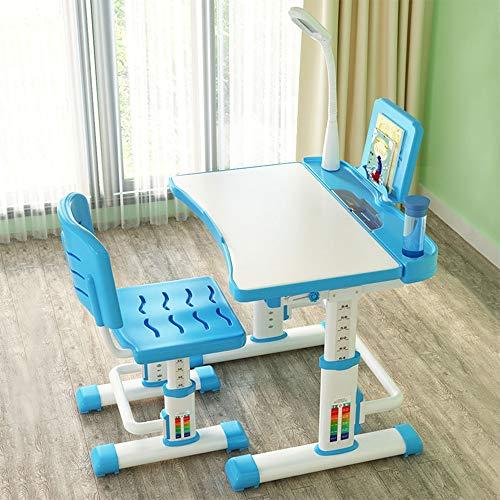 Dalun Kinderschreibtisch Set Stuhl LED Lampe Wasserbecher Rille Stahl Buchstütze Sitzauflage Stuhl höhenverstellbar Schulbank für 3 bis...