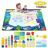 Doodle Tappeto Magico, Grande Acqua Tappeto da Disegno per Bambini 110*80cm con 4 Penne Magiche, 8 Stampi di Eva, 3 Timbro,1 Roller Regali Educativi per i Bambini 3 4 5 Anni