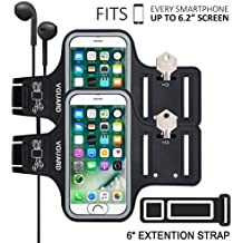 [2-Unidades] VGUARD Brazalete Deportivo para 6.2 Pulgados iPhone X/8 Plus/7 Plus [ID Touch Compatibles] Caja del Brazalete Antideslizante para Deportes con Soporte para Llaves, Cables, Tarjetas y Banda Reflectante para iPhone X/8 Plus/7 Plus/6s Plus/8/7/6/5, Samsung Galaxy S8+/S8/S7/S7 Edge/S6/S5, Huawei P10/P9/Honor 8, Nexus 6P/5X, BQ, ASUS, LG, Motorola y otros Teléfonos Inteligentes de Menos de 6.2 Pulgadas. (Negro+Negro)