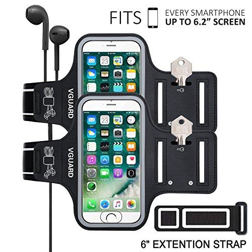 [2 Stücke] VGUARD Universal 6.2 Zoll Schweißfest Sport Armband für iPhone X / 8 Plus/ 7 Plus / 6s Plus - Handytasche Sport / Sportarmband Hülle / Handy Armband mit Schlüsselhalter, Kabelfach, Kartenhalter und Reflekltierendes Band für Laufen / Wandern / Rad Fahren / Gymnastik Fitness Sweatproof Armband für iPhone X/8 Plus /7 Plus/6s Plus, Samsung Galaxy S8+/S8/S7/S7 Edge/S6, iPhone 7/6/6s/5s/5S/SE,Huawei , ASUS, LG, Motorola und weitere Smartphone bis zu 6,2 Zoll (Schwarz+Schwarz)