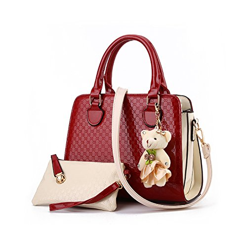 Tisdaini Damen Handtasche Mode Tasche Tasche Schulter Messenger Bag Damen Retro Brieftasche Anhänger Bär -