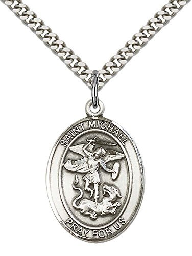 sterling-silver-st-michael-the-archangel-pendant-with-24-stainless-silver-heavy-curb-chain-patron-sa