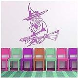 azutura Strega schifosa E scopa Halloween Adesivi Murali Stagionale Decalcomanie decorative disponibile in 5 dimensioni e 25 colori Grande Foglia verde