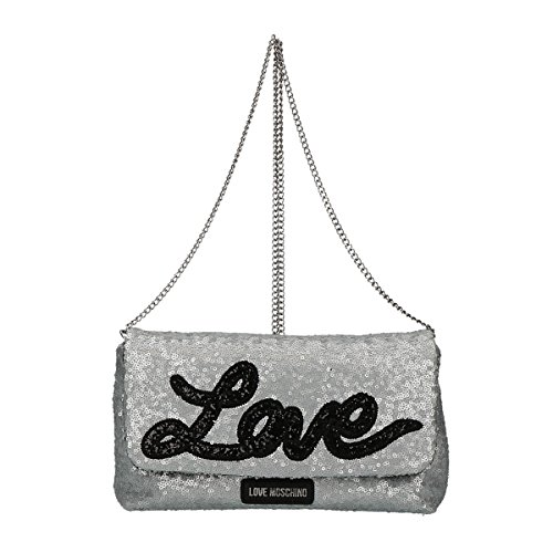 Love Moschino Sequins crossbody bag silver